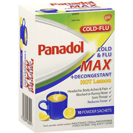 Panadol Cold Amp Flu Max Decongestant Hot Lemon Powder