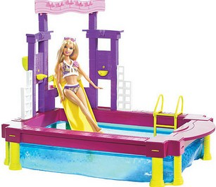Barbie beach pool with doll reviews for Barbie doll house with swimming pool
